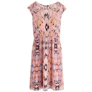 J.Crew Pink Marble Print Chiffon Silk Dress